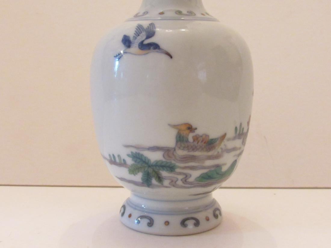 Porcelain Vase with Duck and Lotus Motif - 5