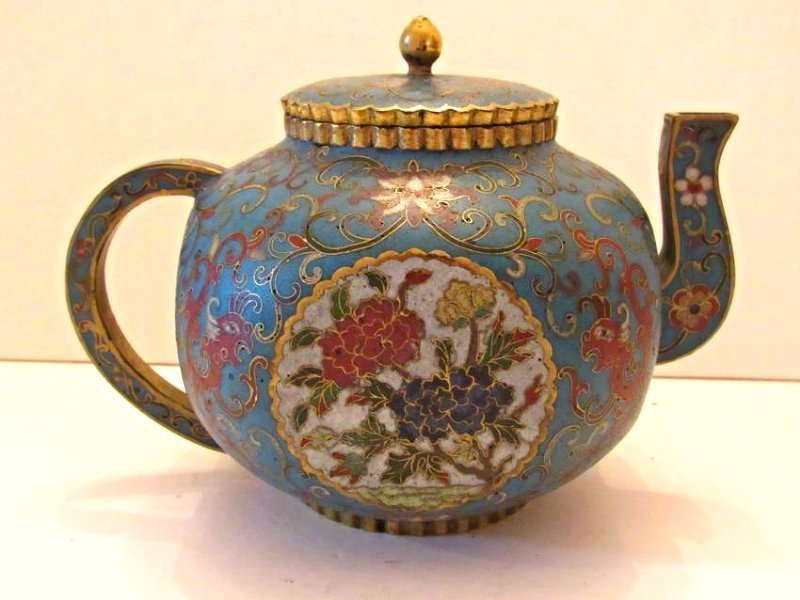 Blue Ground Cloisonne Teapot with Cover