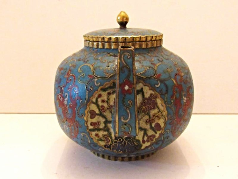 Blue Ground Cloisonne Teapot with Cover - 2
