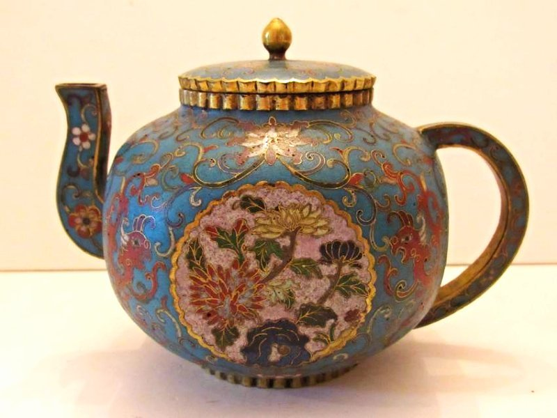 Blue Ground Cloisonne Teapot with Cover - 3