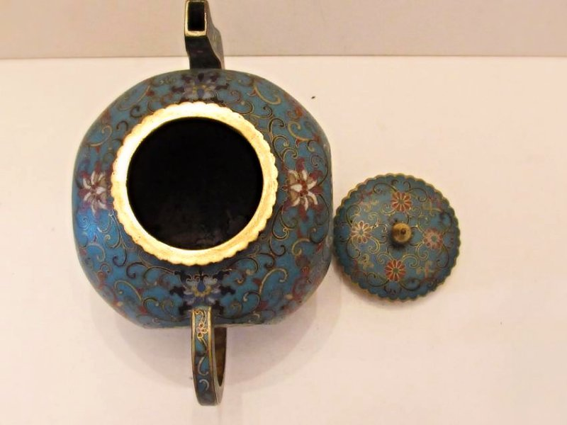Blue Ground Cloisonne Teapot with Cover - 5