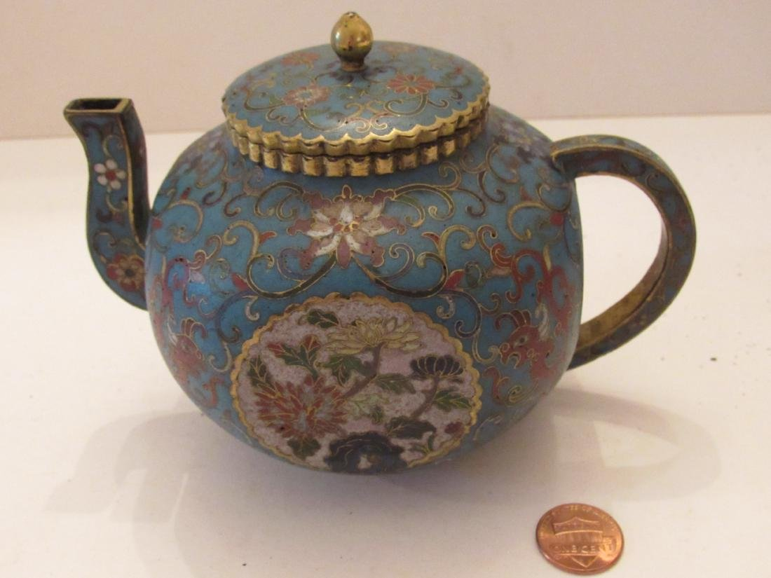 Blue Ground Cloisonne Teapot with Cover - 9