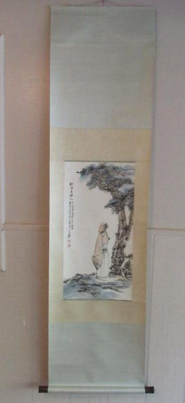 Chinese Scroll Painting with Scholar and Evergreen
