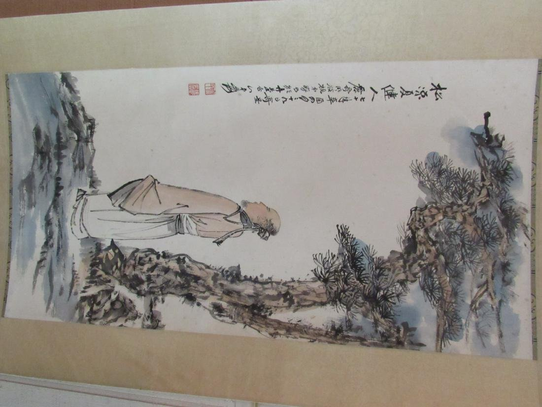 Chinese Scroll Painting with Scholar and Evergreen - 2
