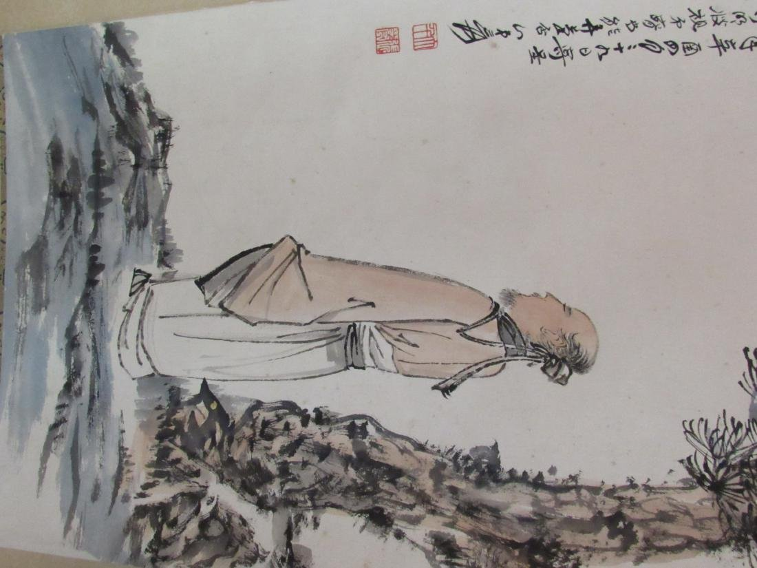 Chinese Scroll Painting with Scholar and Evergreen - 5