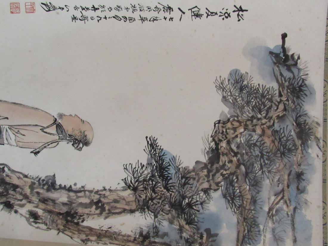 Chinese Scroll Painting with Scholar and Evergreen - 6
