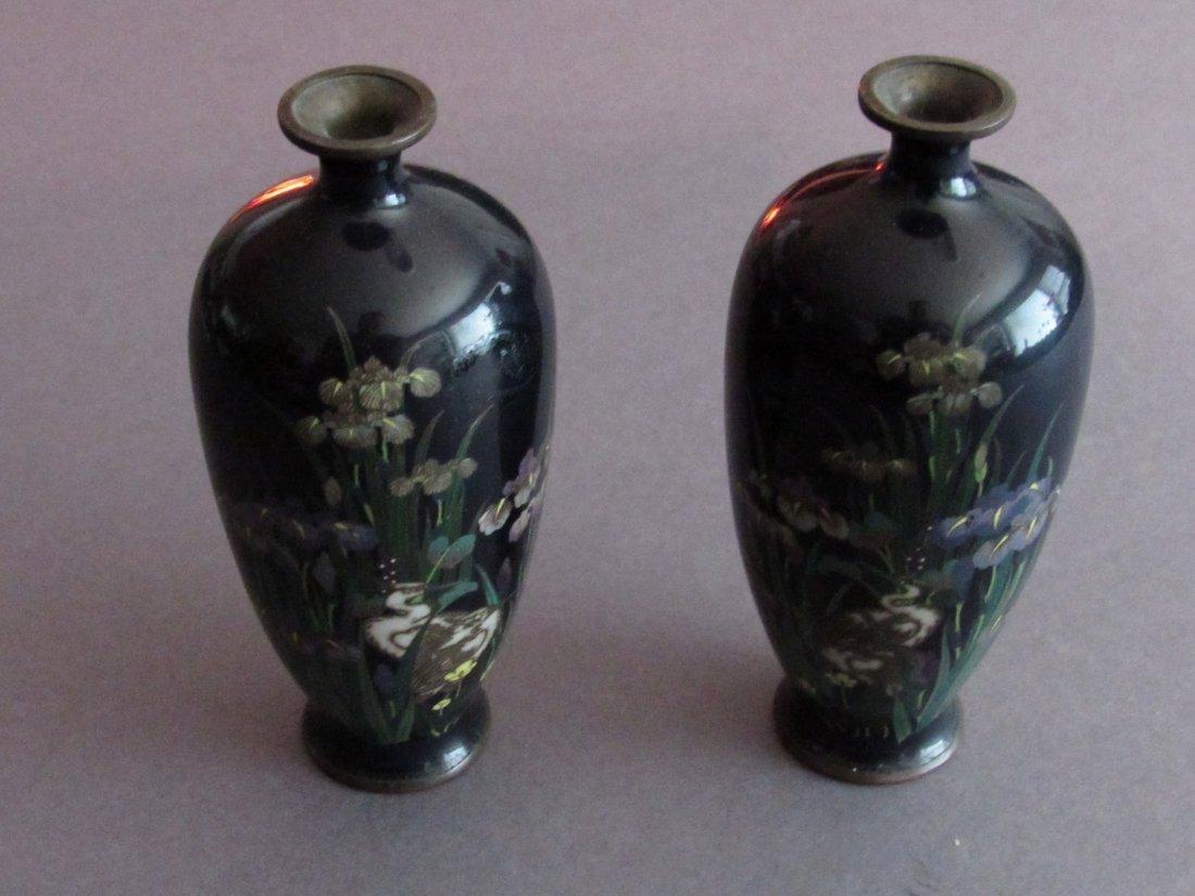 A Pair of Iris Motif Japanese Cloisonne Vases, Meiji