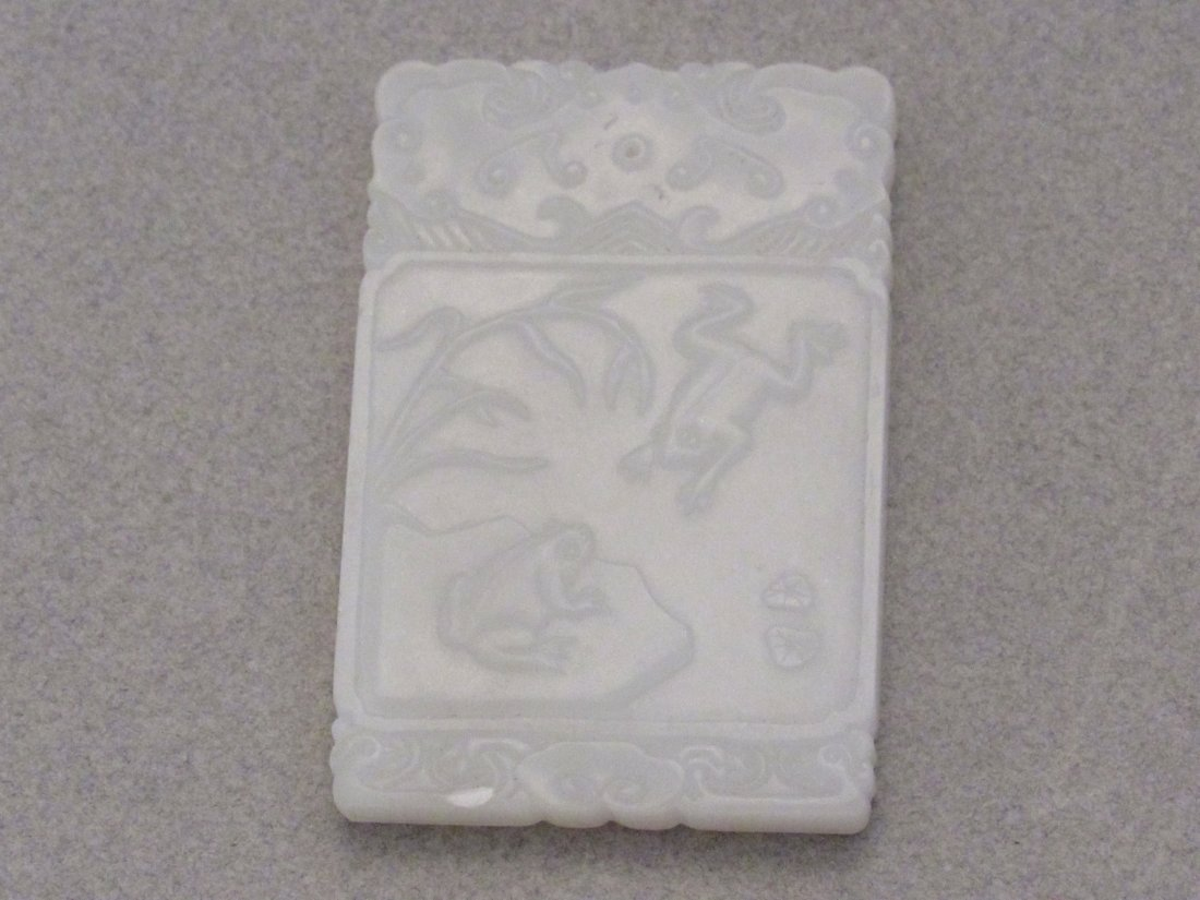 White Fine Jade Rectangular Plaque with Playful Frogs