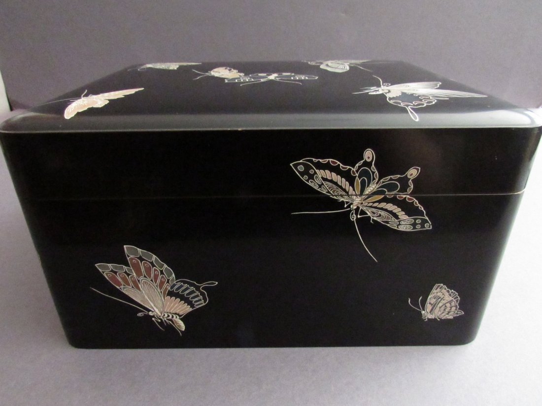Fine Japanese Black Lacquer Box, Signed, Butterfly