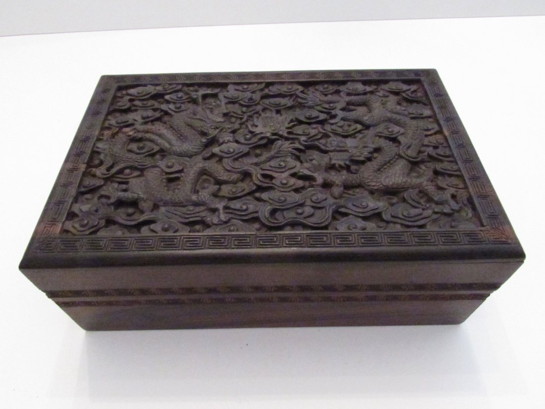Large Chinese Carved Zitan Wooden Box, Double Dragons