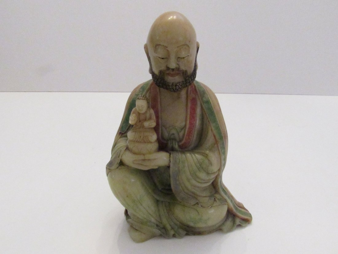 Chinese Soapstone Figure of the Arhat Rahula, Luohan