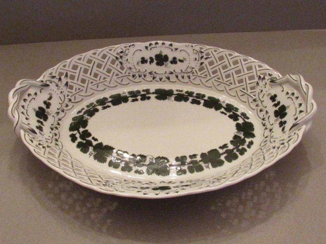 Vintage Meissen Latticework Serving Bowl, Grapevine