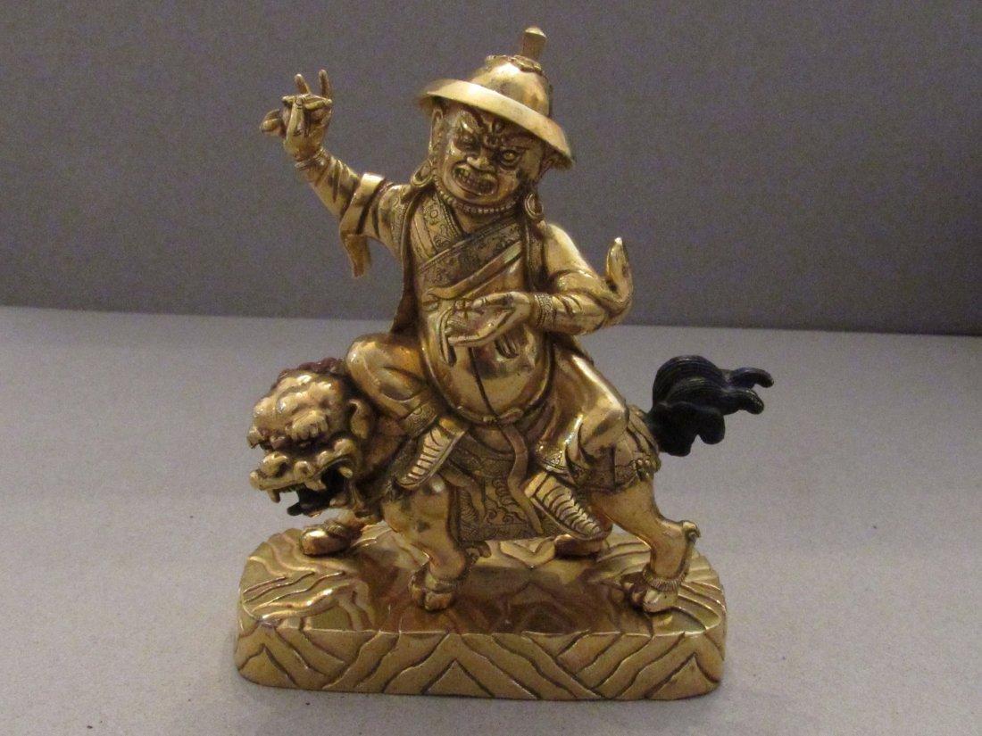 Sino-Tibetan Bronze Temple Guardian Figure