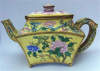 Beijing Enamel Covered Teapot with Peonies