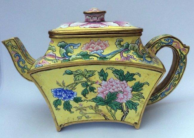 Beijing Enamel Covered Teapot with Peonies