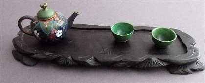 Unusual Canton Enamel Teapot Ming Tea Cups