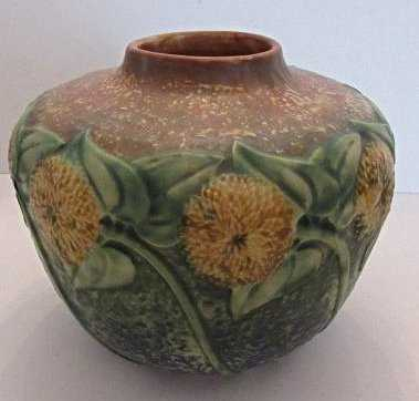 Vintage Roseville Pottery Sunflower Vase C 1930