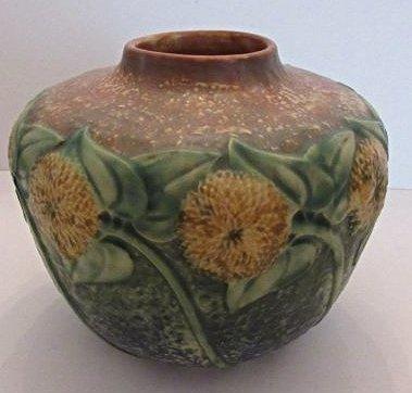 Vintage Roseville Pottery Sunflower Vase, c. 1930