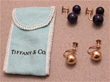 Vintage Tiffany 14k Gold and Lapis Lazuli Ball Earrings