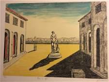 Piazza d'Italia con efebo 1972 by Giorgio De Chirico