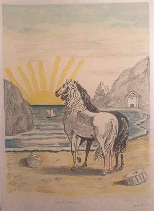 Cavalli Mediterranei 1970 by Giorgio De Chirico