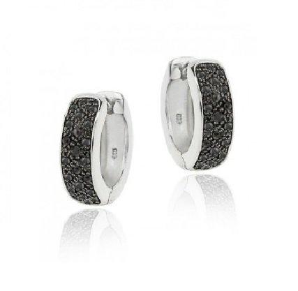 Black Diamond Accent Huggies Hoop Earrings