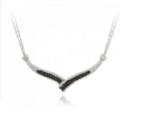 "Sterling Silver 1/4 Ct. Black Diamond ""V"" Necklace"