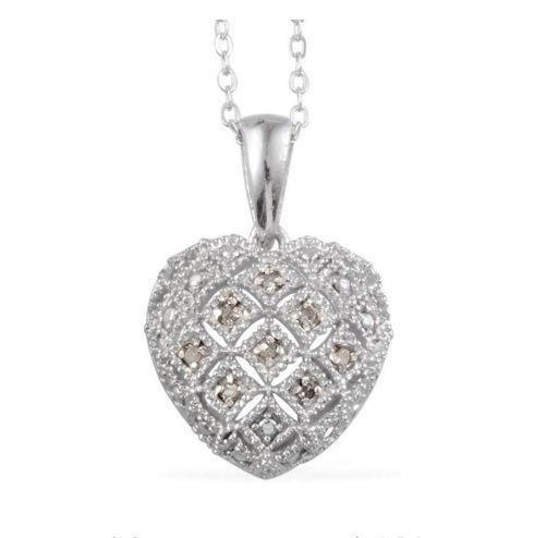 Heart Diamond Accent Pendant 20 inch chain .05 TDiaWt