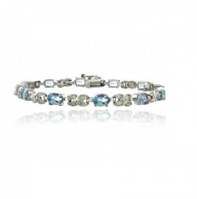 7.15ct Blue Topaz & Diamond Accent X & Oval Bracelet