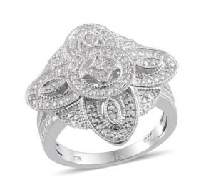 Size 8 Diamond Accent Ring .03 Cts
