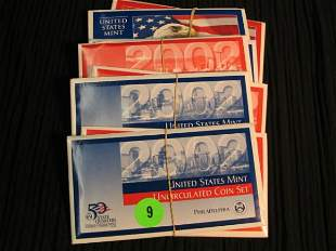 3- 2002 & 1 2003 UNC Proof Sets both P & D included.