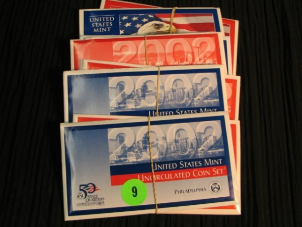 9: 3- 2002 & 1 2003 UNC Proof Sets both P & D included.