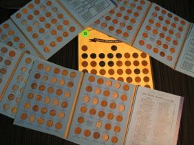 5 -  Wheat Penny Collection Books - Circulated And