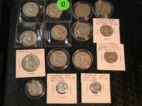 17: Misc Silver coins - 8 Franklins, 2 Walking Liberty'