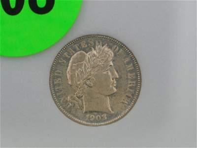 108: 1903 NCMS65 Barber Dime