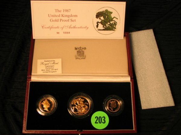 203: 1987 United Kingdom Gold Proof Set - 3 Gold Coins