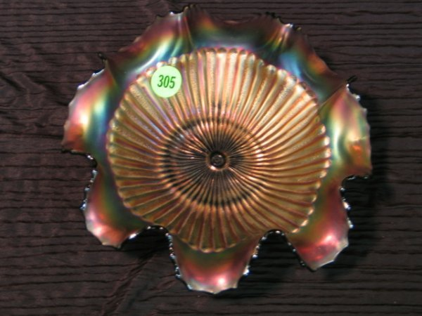 305: Signed Northwood Carnival Glass Bowl with Fluted R