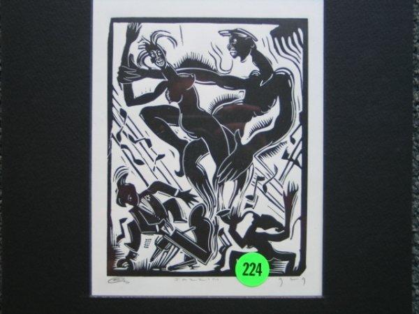 224: E. Washington 1929  wood block print signed and da