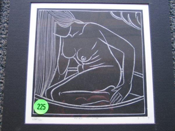 225: E. Washington 1929  wood block print signed and da