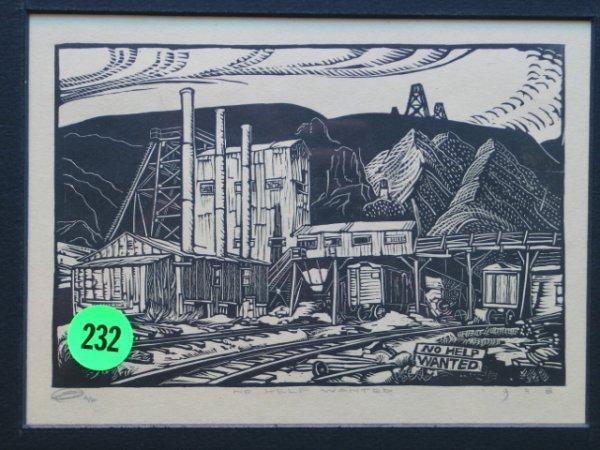 232: E. Washington 1938  wood block print signed and da
