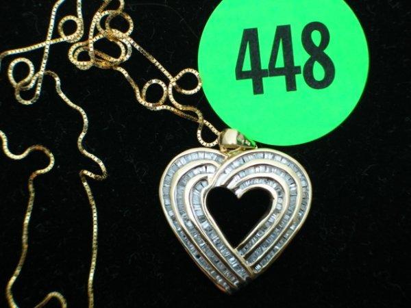 448: Ladies 10kt yellow gold apprx 3/4cttw diamond hear