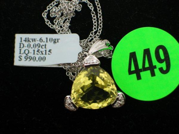 449: Ladies 14kt white gold apprx 10.00cttw lemon quart