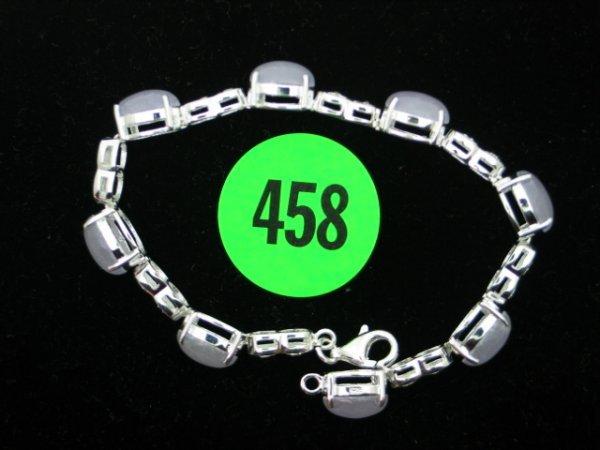 """458: Ladies sterling silver & jade 7"""" bracelet - NEW -"""