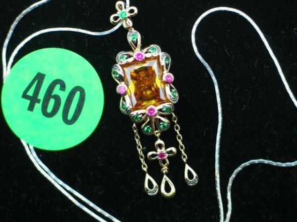 460: Ladies antique sterling silver pendant w/apprx 7ct