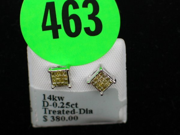 463: Ladies 14kt white gold apprx 0.25cttw treated diam