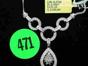 "471: Ladies 14kt white gold approx 16"" necklace w/apprx"