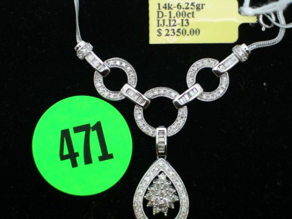 """471: Ladies 14kt white gold approx 16"""" necklace w/apprx"""