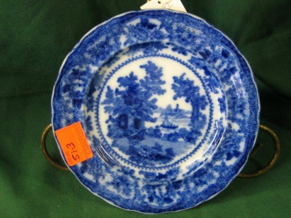 "513: Flow Blue plate 9"" Nice Mark unreadable"