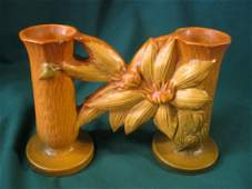 2130: roseville clematis double bud vase, #194-5