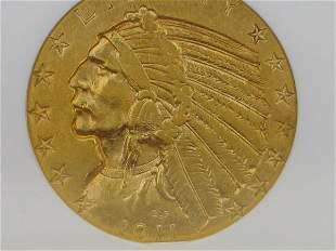1911-S, $5 Indian ANACS 45